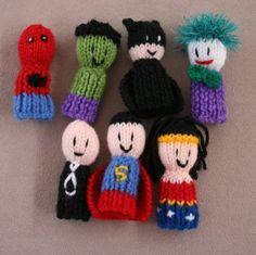 Superhero knitted finger puppets