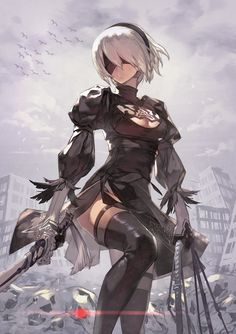★ katahira | とぅーびー ☆ ⊳ 2B (nier: automata) ✔ republished  w/permission - More at https://pinterest.com/supergirlsart