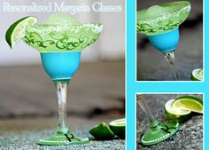 personalized hand painted margarita glasses - Google Search