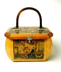 Vintage decoupage box purse with Thomas Rowlandson engravings, including Dr. Syntax and the Gypsies Vintage Soul, Vintage Bags, Vintage Handbags, Vintage Outfits, Decoupage Box, Decoupage Vintage, Cigar Box Purse, Reptile Skin, Floral Fabric
