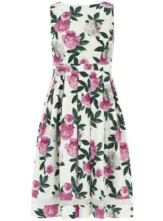 Pink floral cotton dress