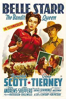 Belle Starr is a Technicolor 1941 Drama from 20th Century Fox production, directed by Irving Cummings loosely based on the life of a real American outlaw Belle Starr. Starring Gene Tierney, Randolph Scott and Dana Andrews.