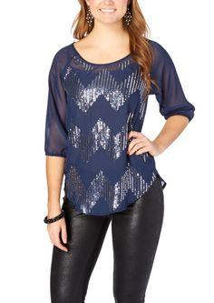 Sheer Sequin Chevron Top | Shirts & Blouses | rue21