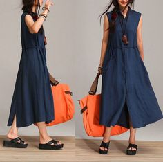 Loose sleeveless dark blue sleeveless summer dress / single-breasted linen drawstring closing body Maxi Dress