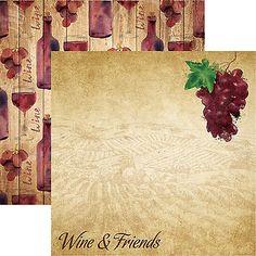 Reminisce WINE & FRIENDS 12x12 Dbl-Sided (2pc) Scrapbooking Paper