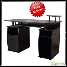 Black Wooden Office Desk w.Drawer Keyboard Shelves Home Pc Furniture Workstation