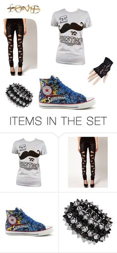 """Mustache u a question"" by sofia-kelis-cartagena ❤ liked on Polyvore featuring art, ripped jeans, awesome, emo, converse, superman and mustache"