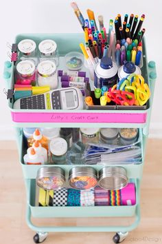 How to organize your slime supplies - Storage Cart - Ideas of Storage Cart . How to organize your slime supplies – Storage Cart – Ideas of Storage Cart – sli Childrens Bedroom Storage, Girls Bedroom Storage, Baby Room Storage, Baby Room Diy, Craft Room Storage, Room Organization, Diy Baby, Art Supplies Storage, Art Storage