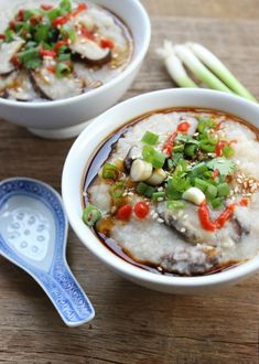 Spice things up with a few drops of Sriracha on this Congee Chinese Rice Porridge recipe.