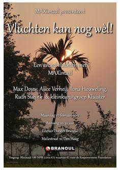 Flyer theatre show 'Vluchten kan nog wèl' (You can still run away)