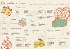 "Como arrumar mala"" ""check list"" Travel Checklist, Travel Guide, Planners, Learn Portuguese, Travel Organization, Organizing, Travelling Tips, Traveling, Gap Year"