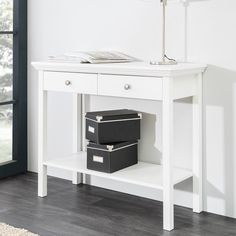 Country Console Table In White With 2 Drawers makes a classic addition to your living room Finish: White Features: •Country Console Table In White With 2 Drawers •White •Material and... Country Wall Mirrors, Consoles, Entrance Hall Decor, Large Console Table, Drawers For Sale, Wooden Room, Furniture Catalog, White Furniture, Storage Spaces