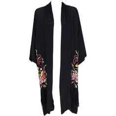 1920's Embroidered Floral Black Silk-Rayon Deco Flapper Fringe Kimono... (17,750 MXN) ❤ liked on Polyvore featuring outerwear, jackets, kimono, tops, silk kimono, floral kimono jacket, embroidered jacket, kimono jacket and silk jacket
