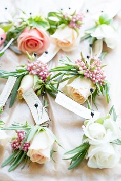 Gorgeous pastel wedding Boutonnieres