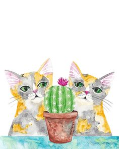 Curious Calico Cats and a Cactus - Original Watercolor Cat Print by KilkennycatArt