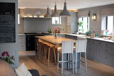 SGS Design Ltd Plain English Kitchen Spitalfields painted Little Greene Paint Company Lead grey Kitchen Interior, Kitchen Led Lighting, Kitchen, Kitchen Lighting, Kitchen Diner, Light Architecture, Engineered Flooring, Plain English Kitchen, Kitchen Extension