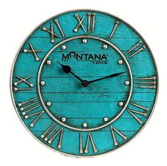 turquoise wall clock - western chic