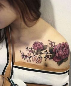 Charming Popy Flower and Branch Tattoos on Shoulder For Women