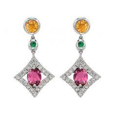 White Gold Earrings with Citrine, Green Garnet, and Pink Tourmaline Stones #jewelry #diamonds
