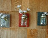 PICK YOUR COLORS Three Mason jars mounted on recycled wood shabby chic rustic wall decor in your choice of colors