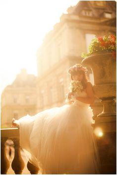 beautiful boheman bride in fine art photography Paris on French Wedding Style by Kurt Vinion