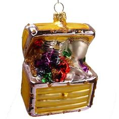 "Treasure Chest Christmas Ornament Varsovia of Poland 4"" Choose color from drop down box. Gold or red open treasure chest filled with sparkling treasures and loot! Great collectible"