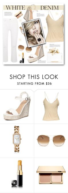 """""""White Denim"""" by pomy22 ❤ liked on Polyvore featuring Dorothy Perkins, Gucci, Chanel, Chloé, KAROLINA, Clarins, white and whitejeans"""