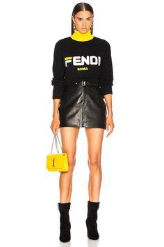 Shop for Fendi Fendi Mania Logo Oversized Sweater in Black at FWRD. Boujee Outfits, Fashion Outfits, Fila Outfit, Latest Fashion For Women, Womens Fashion, Fashion Background, Fashion Lookbook, Types Of Fashion Styles, Retro Fashion