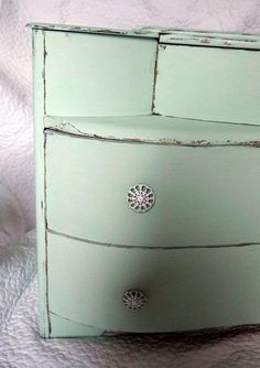 Mint green upcycled chest of drawers.  https://www.etsy.com/listing/121749546/mint-green-shabby-chic-1950s-chest-of?ref=af_shop_favitem