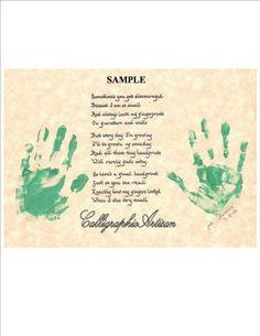 Hand Scribed 'Childrens' Handprint Poem' by CalligraphicArtisan, $10.00