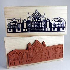 Cincinnati Music Hall Rubber Stamp | steam whistle press http://craftysupermarket.wordpress.com/2013-holiday-crafters/