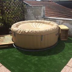 Hot Tub Surround, Outdoor Furniture, Outdoor Decor, Spa, Phone, Garden, Ideas, Telephone, Garten