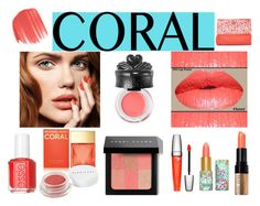 """Coral Contest"" by tlb0318 ❤ liked on Polyvore featuring beauty, Anna Sui, Lancôme, Bobbi Brown Cosmetics, Essie, tarte, Michael Kors, Herbivore Botanicals and Adrienne Vittadini"