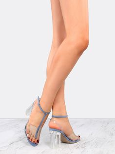 "The Open Toe Clear Straps Perspex Heels are clear winners! Features an open toe, faux suede upper, clear straps, T-strap design, and an adjustable ankle strap. Finished with a 3.25"" clear chunky heel. Wear with a pleated circle skirt for the ultimate feminine ensemble. #pastel #MakeMeChic #style #fashion #newarrivals #fall16"