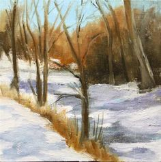 "Daily Paintworks - ""Snowy Creek"" - Original Fine Art for Sale - © Jane Frederick"