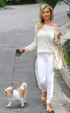 Joanna Krupa, the Real Housewives is looking gorgeous and stylish while walking her dog in Miami.