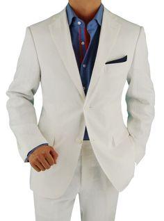 Bianco B Men's Two Button Modern Fit Side-Vent Linen Suit Snow White #MensSuit #MensFashion #MensSuitHabit