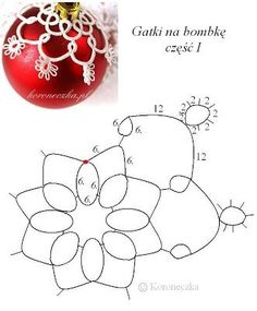 Chaplet - tatting and ceramics: Frywolitkowe pants on Christmas ornament - design Tatting Necklace, Tatting Jewelry, Tatting Lace, Shuttle Tatting Patterns, Needle Tatting Patterns, Beaded Ornaments, Xmas Ornaments, Christmas Balls, Christmas Crafts