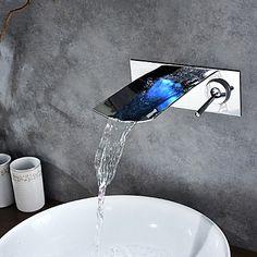 chromen afwerking kleur veranderende led waterval muurbevestiging badkamer wastafel kraan