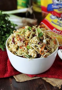 Asian Ramen Noodle Salad with Broccoli Slaw Broccoli Slaw Salad, Creamy Cucumber Salad, Amish Macaroni Salad, Asian Ramen Noodle Salad, Classic Salad, Onion Salad, Loaded Baked Potatoes, Potluck Dishes, Slaw Recipes