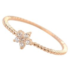 14K CZ Crystal Cute Flower Solitaire Dainty Stackable Ring - Rose Gold / White Gold Plated (Size 4-8) * Check this awesome image  : Jewelry Rings Stacking