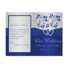 navy silver floral hearts faux foil wedding invite | elegant, Wedding invitations