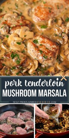 ender Pork Marsala, made with garlic and herb marinated pork tenderloin and smothered in a creamy mushroom wine sauce, is the perfect dinner. Similar to chicken marsala, this recipe is ready in just 30 minutes. Pork marsala with mushrooms and shallots can be served over mashed potatoes or pasta. #porkmarsala #porktenerloin #mushrooms #sauce #recipe #dinner #easy Recipes Using Pork, Beef Recipes For Dinner, Delicious Dinner Recipes, Entree Recipes, Side Dish Recipes, Meat Recipes, Vegetarian Recipes, Potato Recipes, Holiday Recipes