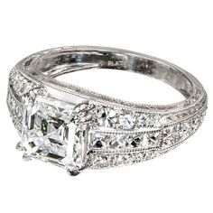 2.04 Carat Asscher Cut GIA Cert Diamond Platinum Ring | From a unique collection of vintage engagement rings at https://www.1stdibs.com/jewelry/rings/engagement-rings/