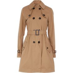 Camel tie waist Trench Coat found on Polyvore