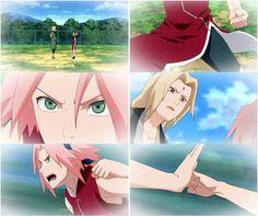 Tsunade and Sakura training hard Anime Naruto, Naruto Sasuke Sakura, Naruto Funny, Naruto Girls, Naruto Shippuden, Boruto, Hinata Hyuga, Sakura Haruno, Otaku