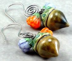 Lampwork Acorn Earrings with Sterling Silver Earwires by #DesignedByVal #jetteam #jewelryonetsy