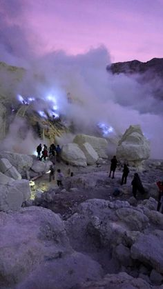Kawah Ijen Blue Fire from burning a sulfur