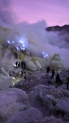 Kawah Ijen Blue Fire from burning a sulfur
