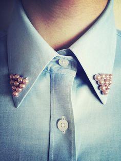 pearl collar tips Fashion Details, Diy Fashion, Love Fashion, Funky Fashion, Vintage Fashion, Collar Tips, Diy Clothing, Refashion, Dress To Impress